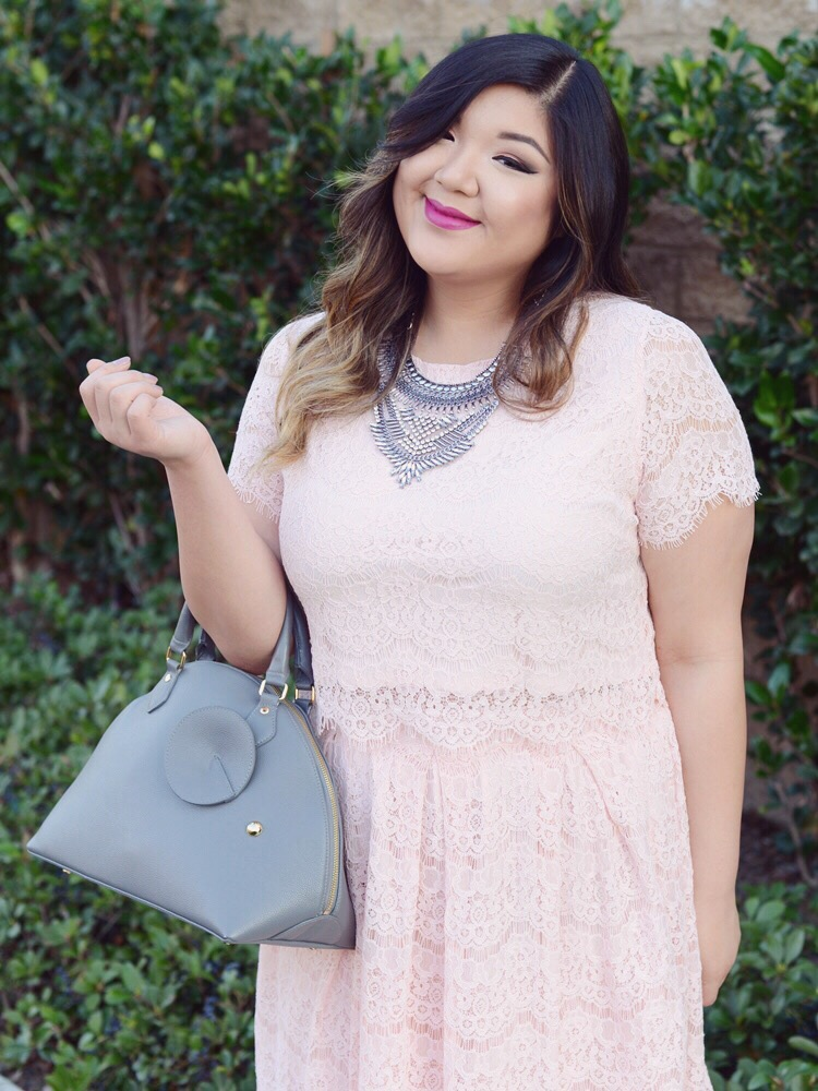 Curvy Girl Chic Plus Size Fashion blog Valentine's Day Pink Lace Crop Top and Skirt Outfit Idea
