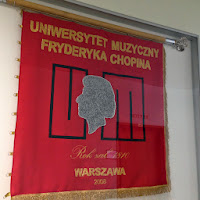 Chopin University Flag. Photo by Maja Trochimczyk
