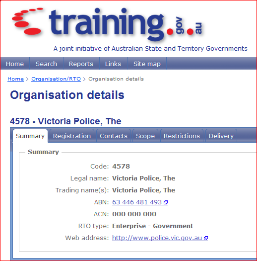 Victoria police is a business it s abn or australian business number