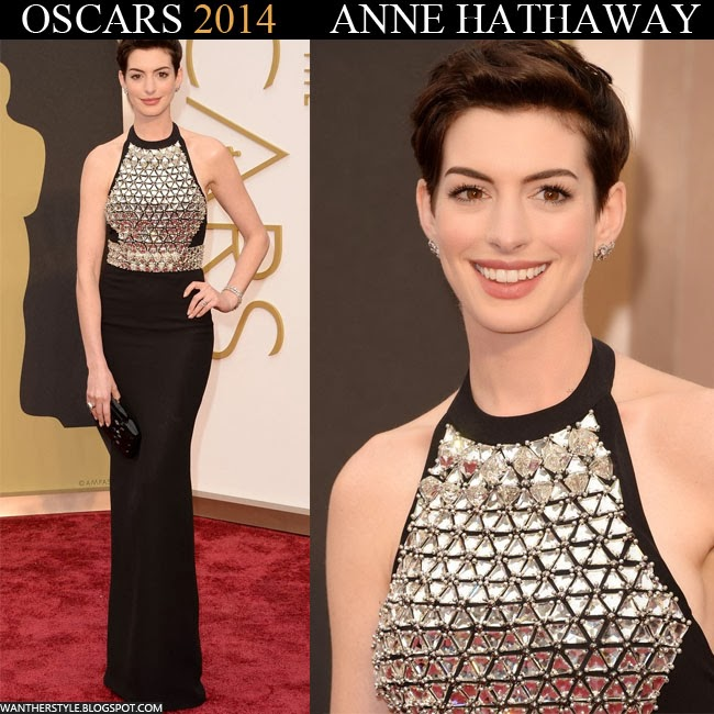 Anne Hathaway in black embellished Gucci dress with Neil Lane jewelry Want Her Style Oscars Red Carpet