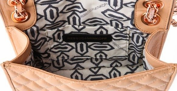 Rebecca Minkoff Quilted Mini Affair Bag Rose Gold Chain Biscuit