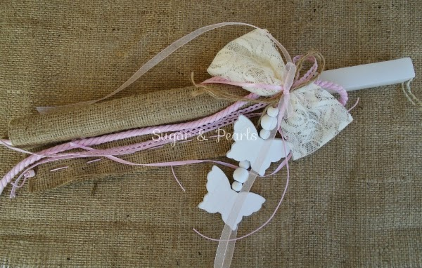 Πασχαλινή λαμπάδα ξύλινες πεταλούδες