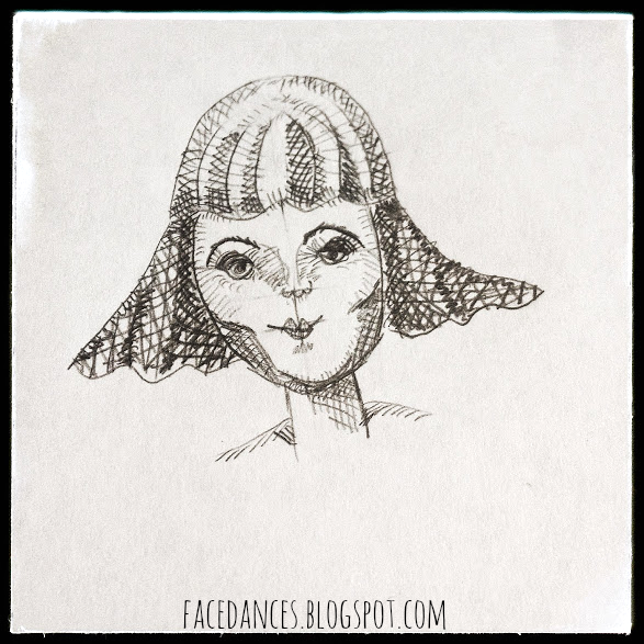 Flip Girl pencil sketch doodle via facedances.blogspot.com