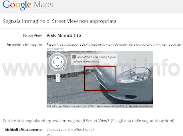 Segnala immagine di Street View non appropriata