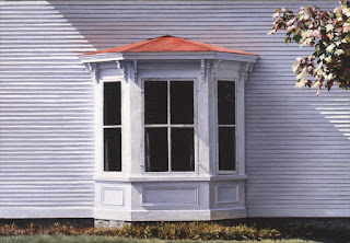 "First Frost, Original oil by Carroll Jones III ""bay window with copper roof on white house"""
