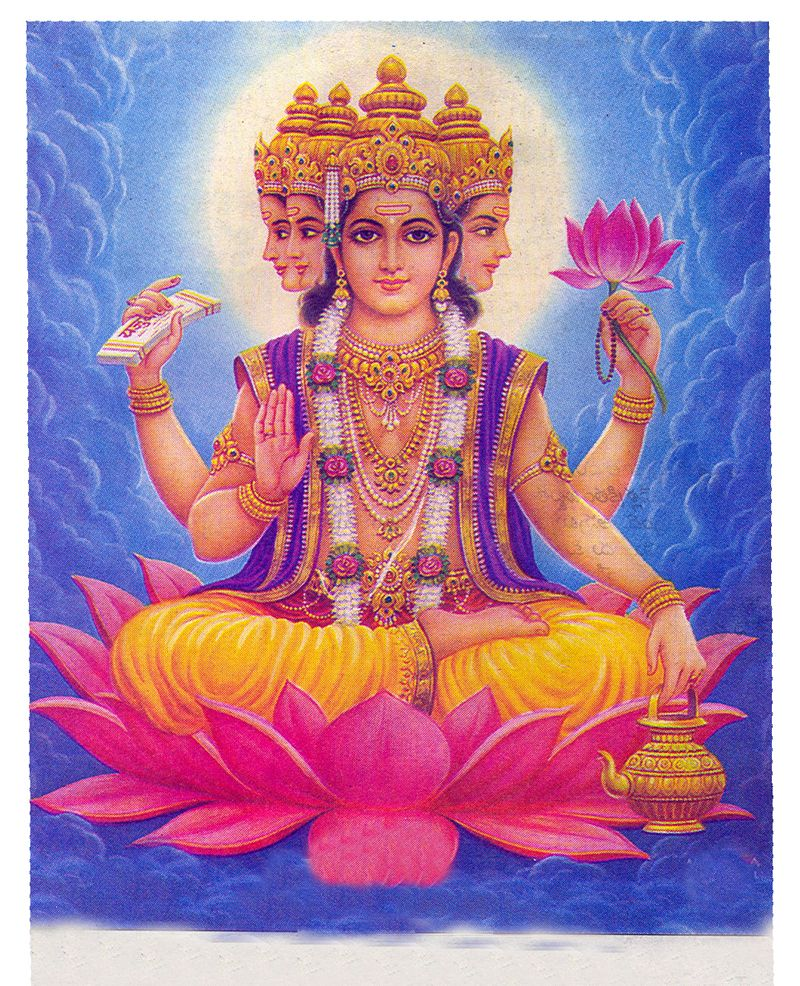 Lord brahma hindu god brahma images seated on lotus flower
