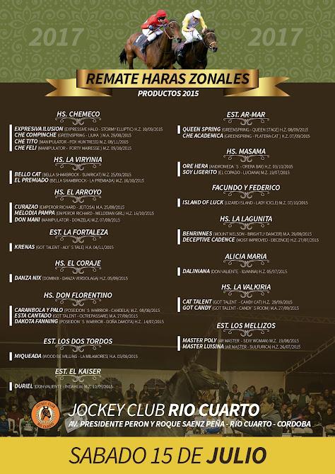 REMATE HARAS ZONALES 2017- Jockey Club Río Cuarto