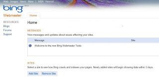 bing webmasters tools home page