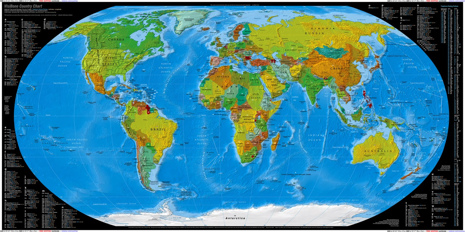 High Resolution World Map with Countries
