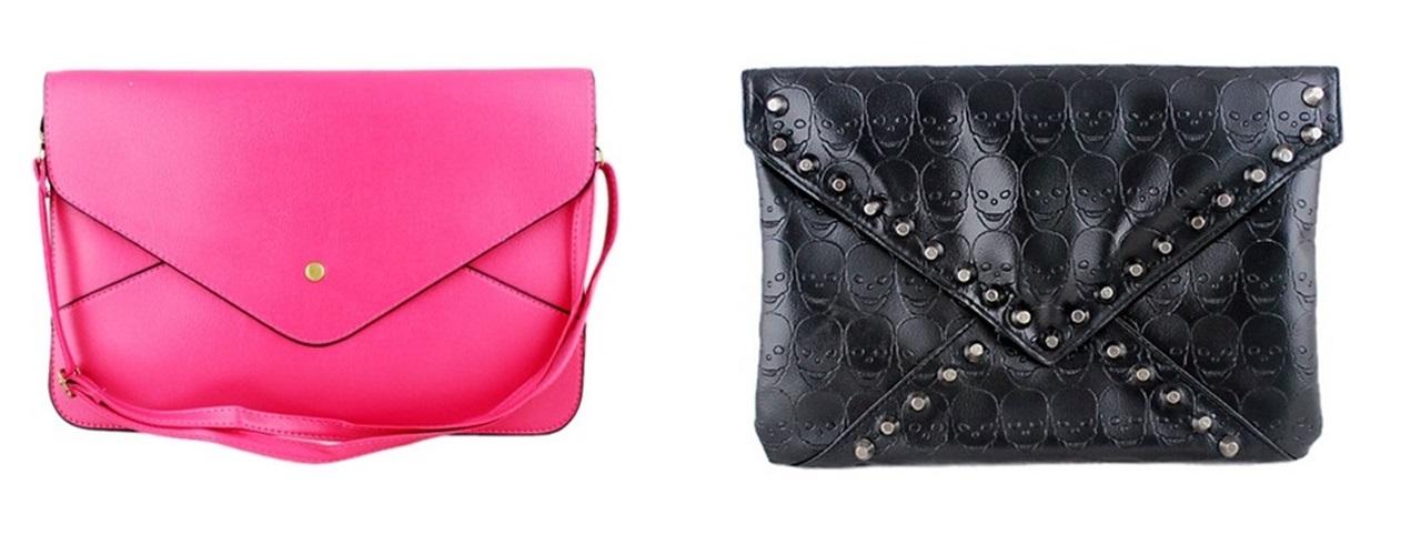 Bolsa rosa, e bolsa de caveira preta.