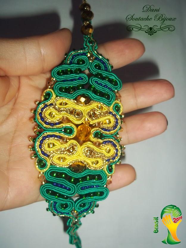 pulseira verde amarelo em soutache- Coleção Copa Brasil 2014
