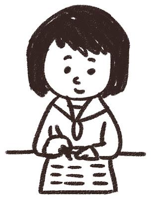 勉強をする女子中学生・高校生のイラスト「授業中」 白黒線画