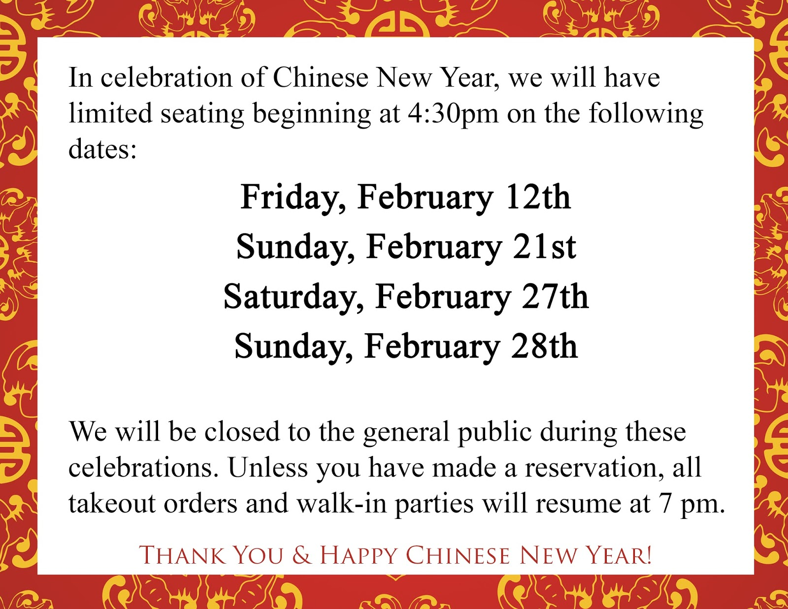chinese new year is just around the corner so please take note of the dates and details below - Chinese New Year Dates