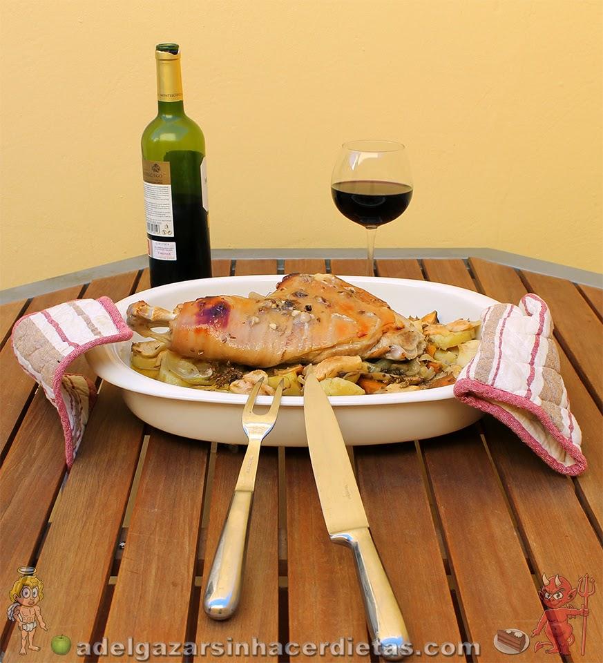Pata de cochinillo al horno baja en calorías, apta para diabéticos y baja en colesterol.