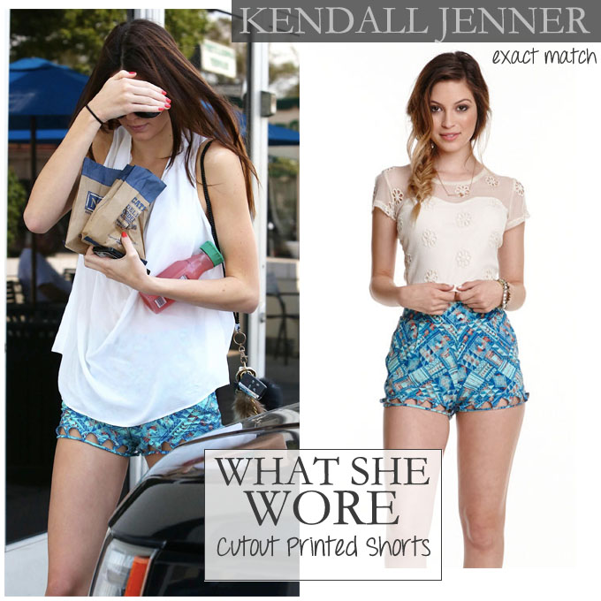 WHAT SHE WORE: Kendall Jenner in blue cutout printed shorts in ...