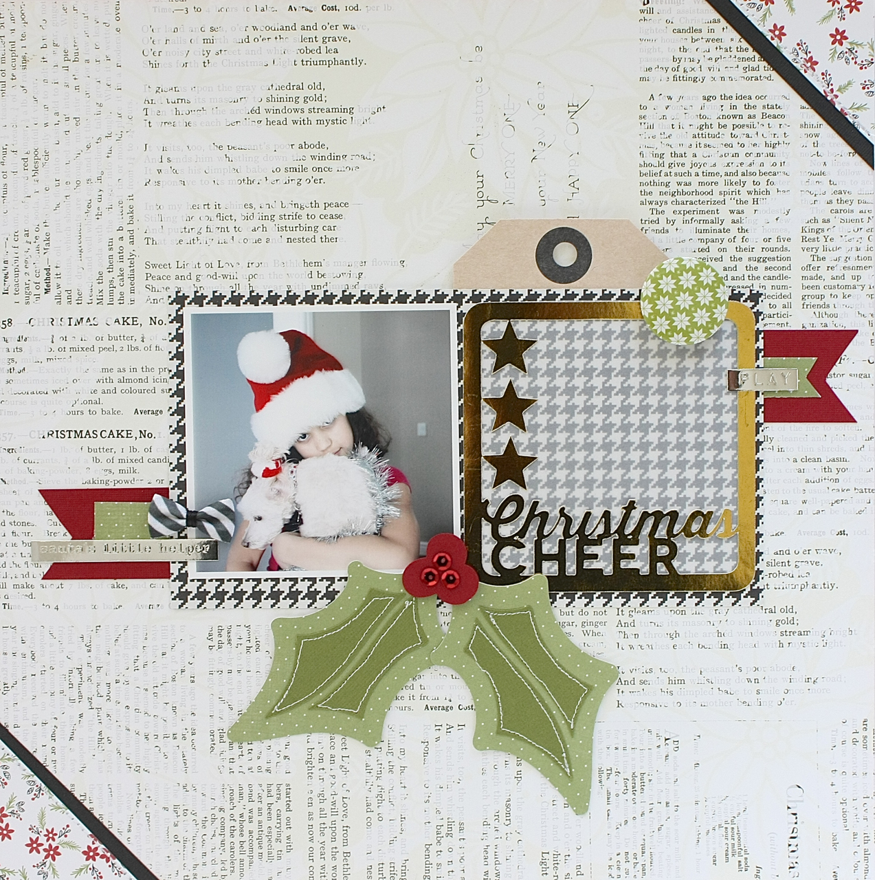 Christmas Scrapbook Page by Sherri Funk using Christmas Cheer & Winter Wishes and Merry Merry Digital Cut Files by 17turtles