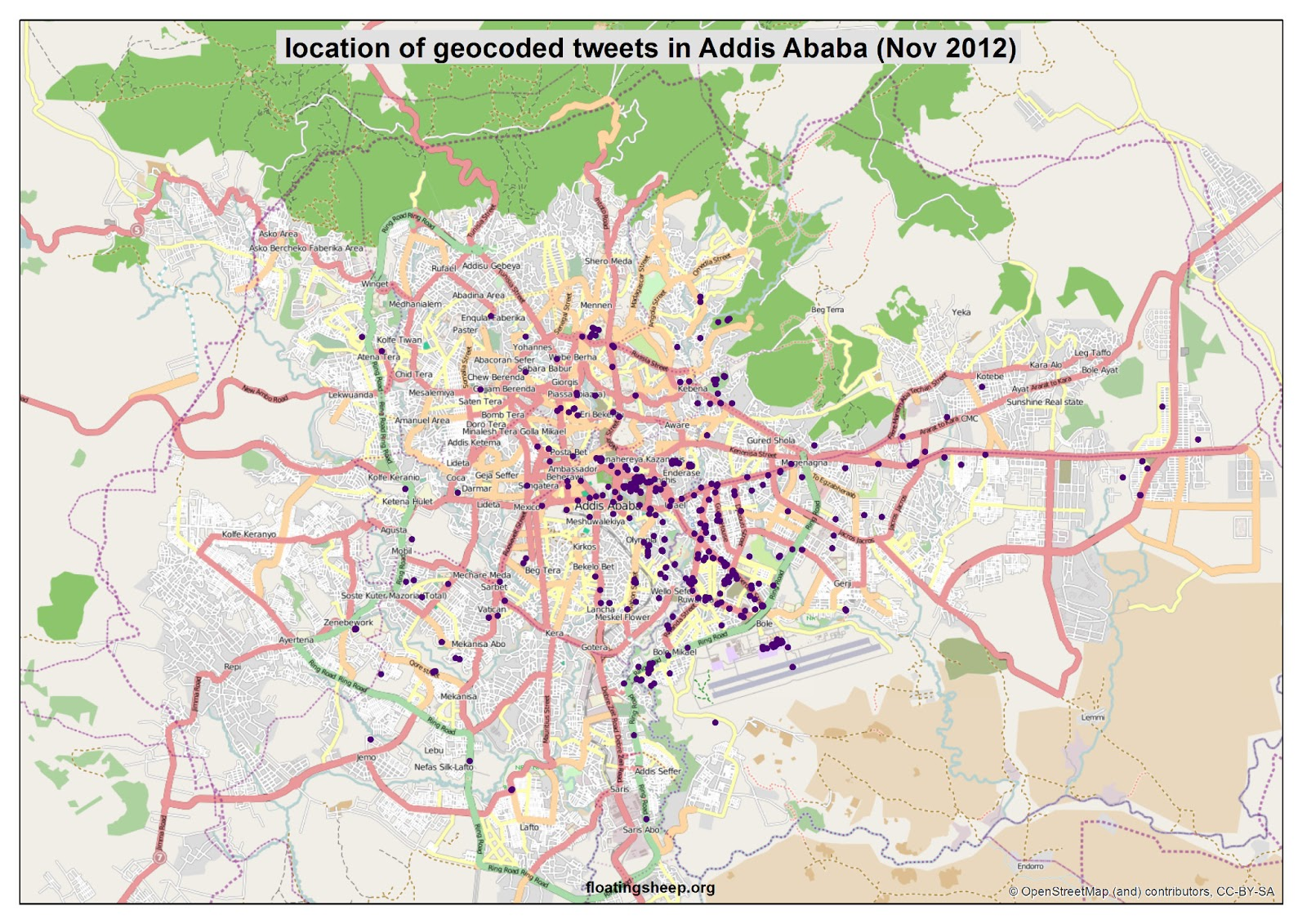 floatingsheep: The Urban Geographies of Tweets in Africa