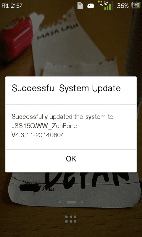 update firmware ASUS ZenFone 4 sukses