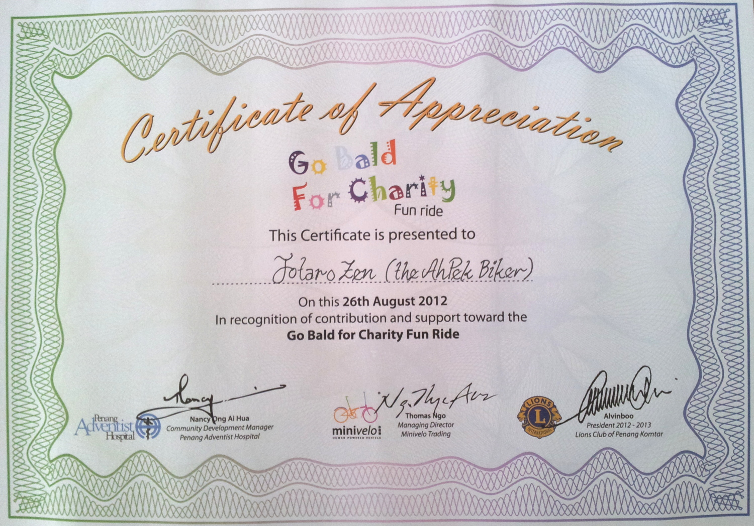 Certificate of appreciation charity images certificate design free volunteer appreciation certificates signup printables yadclub ahpek biker old dog rides again penang charity bike ride 2608 ahpek biker old dog rides yelopaper Image collections