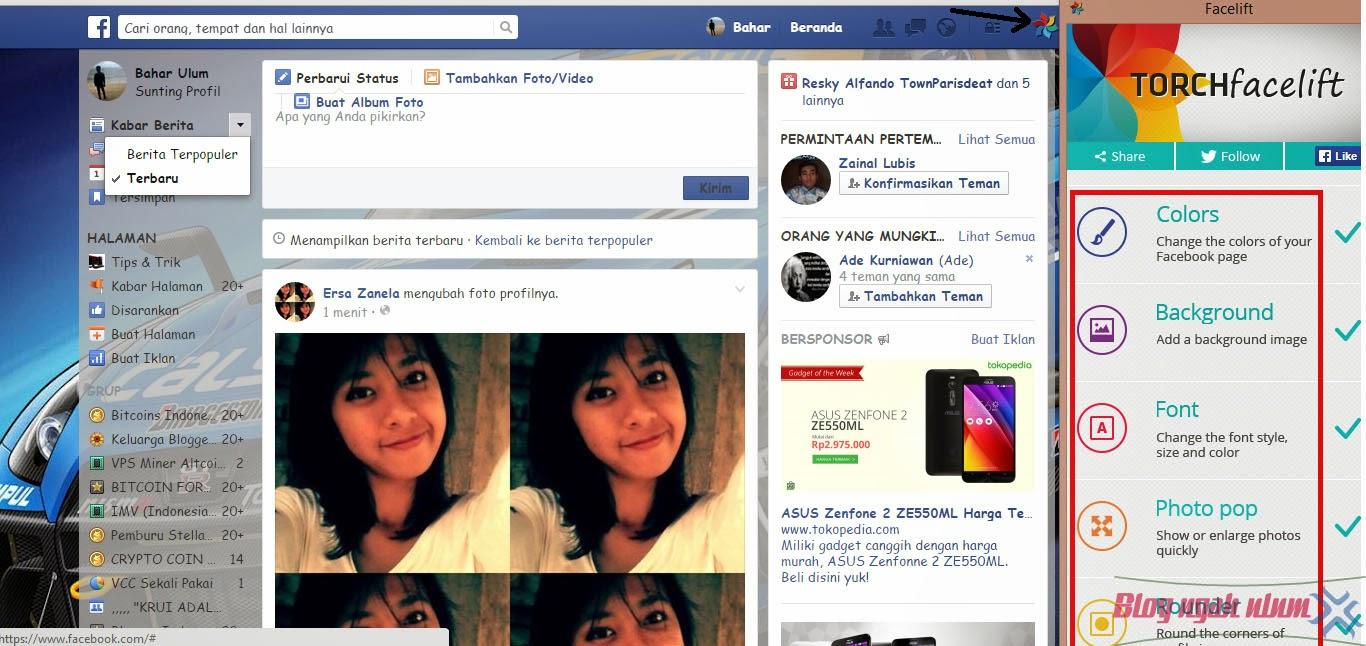 mengganti background facebook