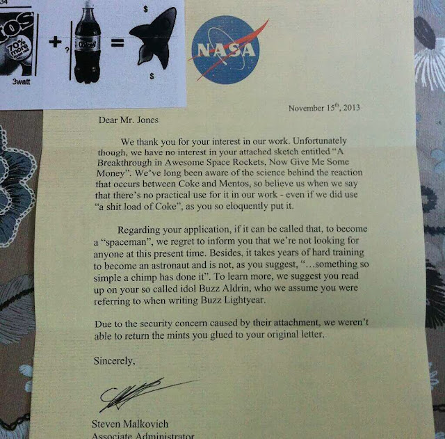 Funny Letter to NASA