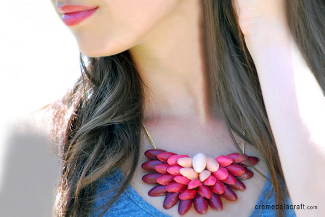 Diy tutorial project idea gift make ombre necklace pistachio shells craft