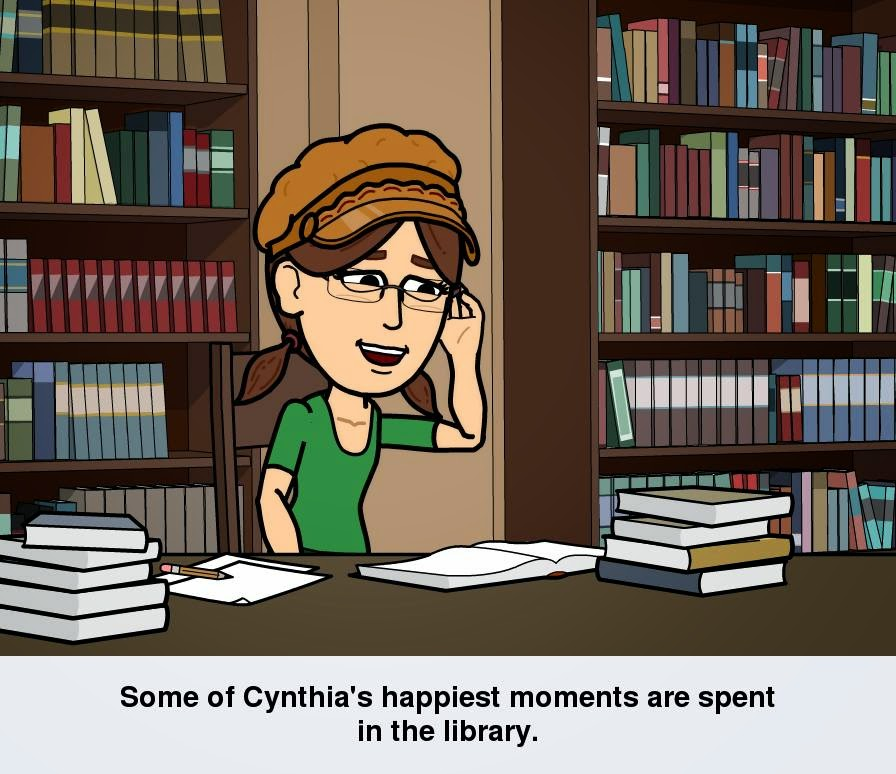 Cynthia M. Parkhill's Bitstrips cartoon avatar stands at library table that is covered with books.