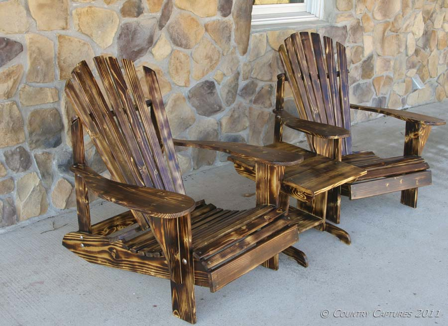 After Two Coats Of Satin Polyurethane The New Rustic Adirondack Set Is  Ready For Use.
