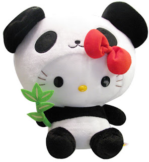 Hello Kitty soft plush toy in panda costume