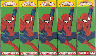 Front view of Ultimate Spider-Man Villains Candy Sticks boxes set four