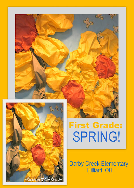 photo of: Spring art project, flowers in art project