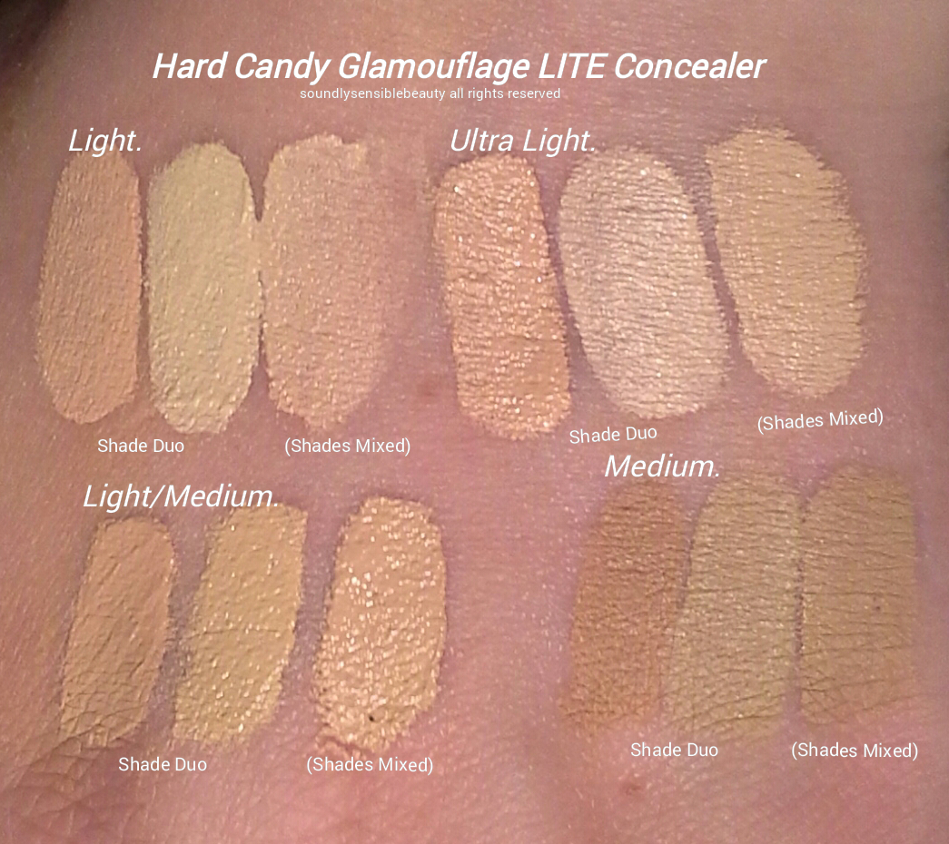 Hard Candy LITE Glamoflauge Blendable Concealer/Corrector Duo; Review & Swatches of Shades  Light/Medium, Light, Ultra Light, Medium