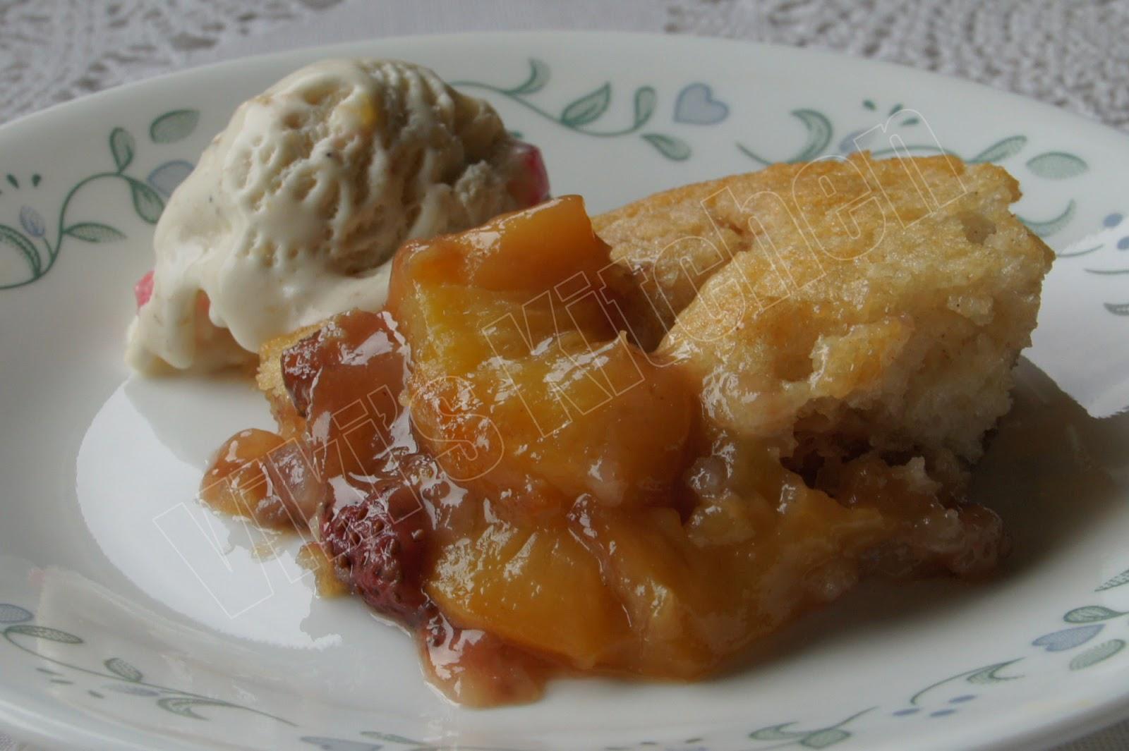 Peach cobbler with almond kulfi ice cream