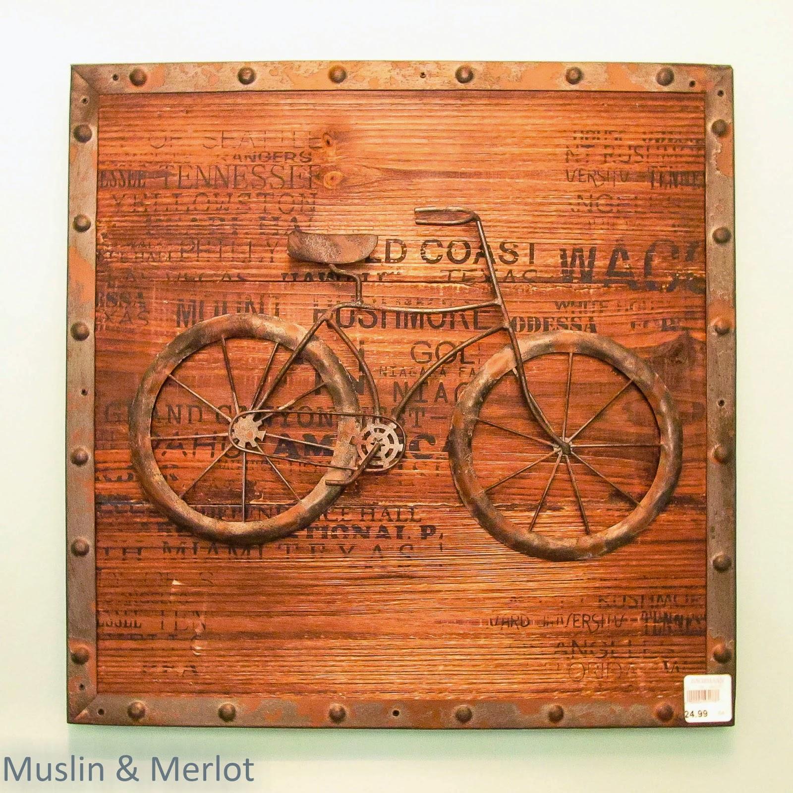 Metal and printed wood decor.