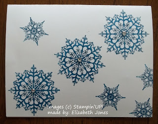 One-layer Card made with Stampin'UP!'s Snowflake Soiree Stamp Set.