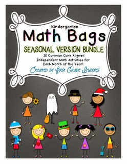 http://www.teacherspayteachers.com/Product/Math-Bags-for-Kindergarten-Seasonal-Bundle-1187633