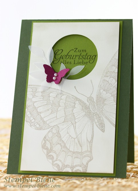 Geburtstagskarte mit Stampin' Up Swallowtail, Gastgeberinnenset Natur-Nah, Match the Sketch, Stampin Up Jahreskatalog 2014, Stampin Up bestellen, Stampin' Up Kreis Recklinghausen und Ruhrgebiet