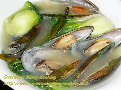 Tinolang Tahong at Pechay, Green Mussels with Bok Choy