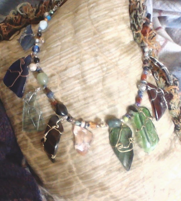 recycled vintage glass necklace