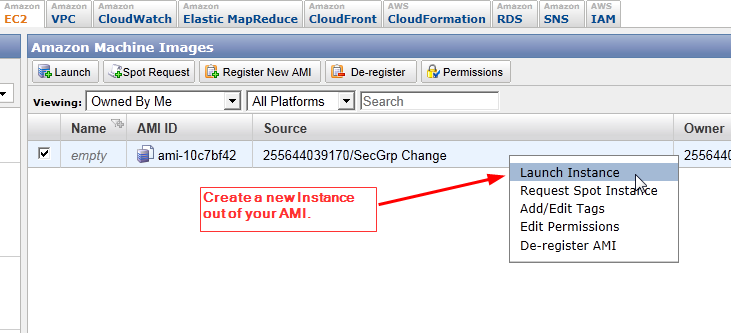 aws how to send request to instance