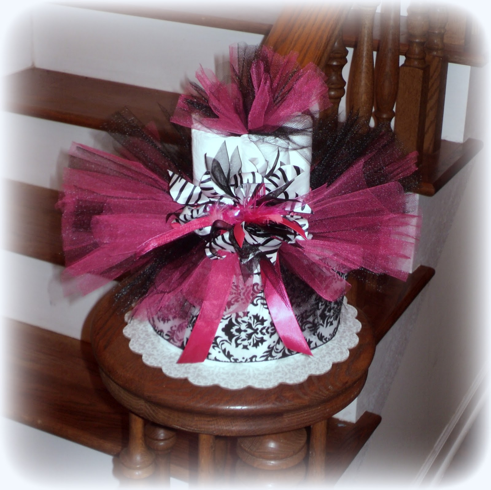 Diaper Cake Centerpiece For Baby Shower : Zebra Diaper Cake Baby Shower Centerpiece Gift Girl Ribbon ...