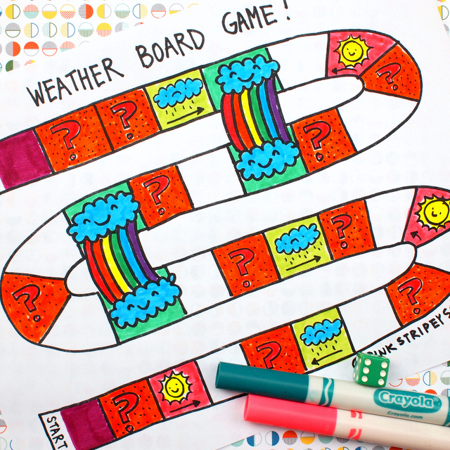 Printable Weather Board Game  Pink Stripey Socks