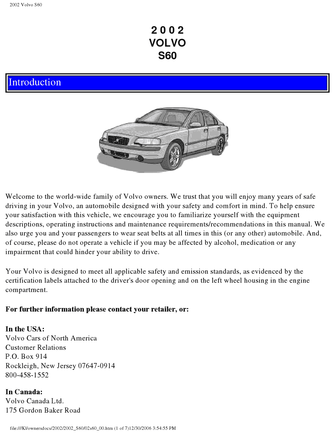28 2002 Volvo S60 Repair Manuals 2002 Volvo S60