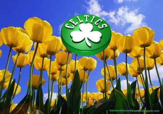 Boston Celtics desktop Wallpapers Up Rotated Logo in classic Tulips Flowers Field background