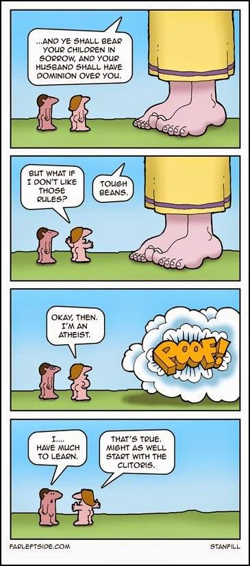 Funny Atheist Woman Cartoon Joke Picture
