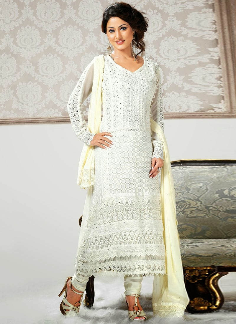 Hina Khan In Latest Pakistani Designer Long Salwar Kameez