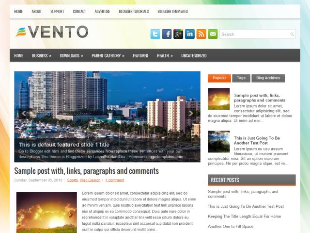 Vento Diet Blogger Template