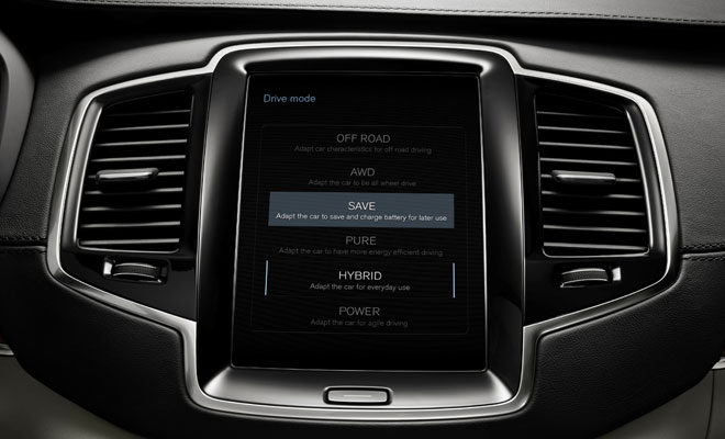 XC90 driving mode selection via touchscreen