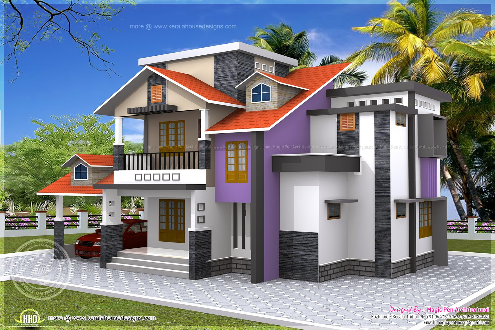 4 bedroom house exterior in 2240 square feet kerala home for 4 bedroom house exterior design