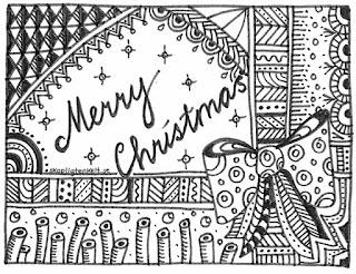 julkort zentangel målarbild